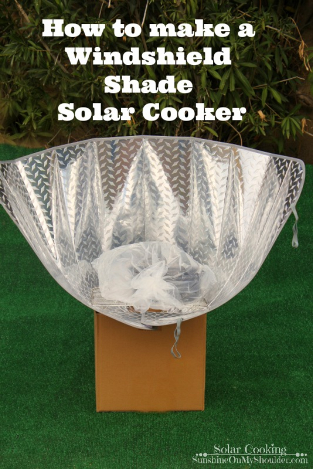 DIY Solar Powered Projects - Windshield Shade Solar Cooker - Easy Solar Crafts and DYI Ideas for Making Solar Power Things You Can Use To Save Energy - Step by Step Tutorials for Making Things Without Batteries - DIY Projects and Crafts for Men and Women http://diyjoy.com/diy-solar-power-projects