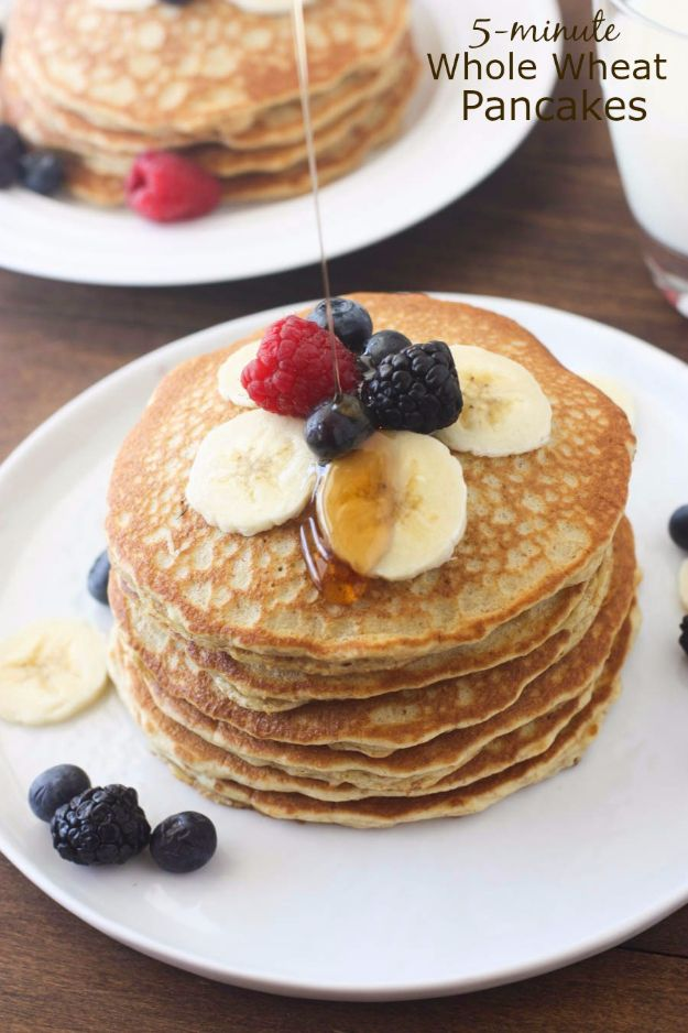 Easy Snacks You Can Make In Minutes - 5-Minute Whole Wheat Pancakes - Quick Recipes and Tricks for Making After Workout and After School Snack - Fast Ideas for Instant Small Meals and Treats - No Bake, Microwave and Simple Prep Makes Snacking Fun http://diyjoy.com/easy-snacks- recipes