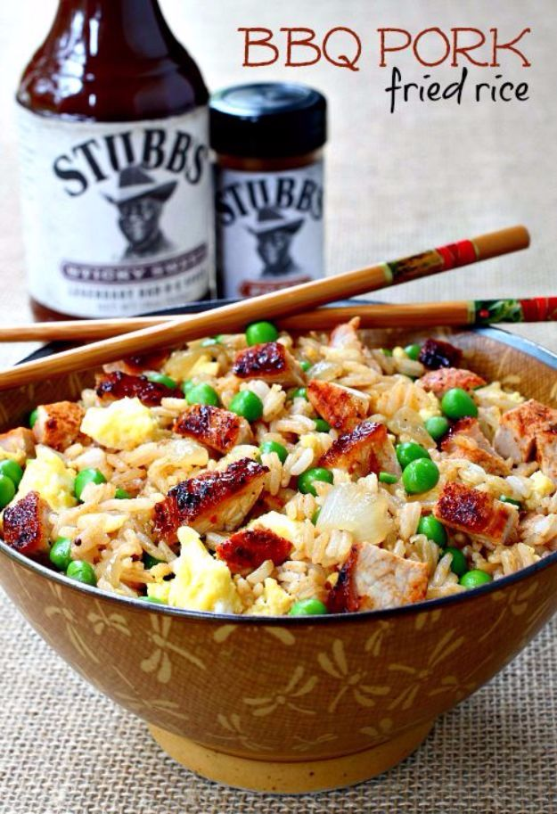 Best Rice Recipes - BBQ Pork Fried Rice - Easy Ideas for Quick Meals Made From a Bag of Rice - Healthy Recipes With Brown, White and Arborio Rice - Cheesy, Fried, Asian, Mexican Flavored Dinner Dishes and Side Dishes - DIY Projects and Crafts by DIY JOY http://diyjoy.com/best-rice-recipes