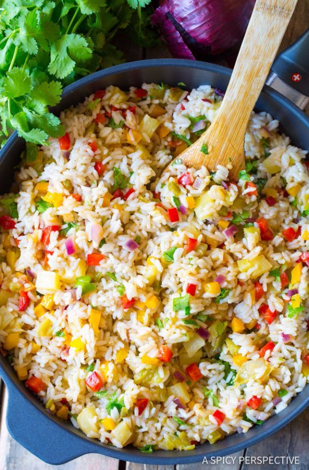 Best Rice Recipes - Caribbean Confetti Rice - Easy Ideas for Quick Meals Made From a Bag of Rice - Healthy Recipes With Brown, White and Arborio Rice - Cheesy, Fried, Asian, Mexican Flavored Dinner Dishes and Side Dishes - DIY Projects and Crafts by DIY JOY http://diyjoy.com/best-rice-recipes