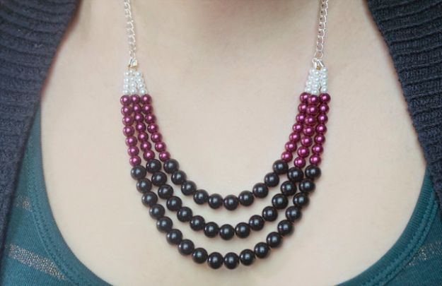 DIY Necklace Ideas - DIY Beaded Statement Necklace - Easy Handmade Necklaces with Step by Step Tutorials - Pendant, Beads, Statement, Choker, Layered Boho, Chain and Simple Looks - Creative Jewlery Making Ideas for Women and Teens, Girls - Crafts and Cool Fashion Ideas for Women, Teens and Teenagers http://diyjoy.com/diy-necklaces