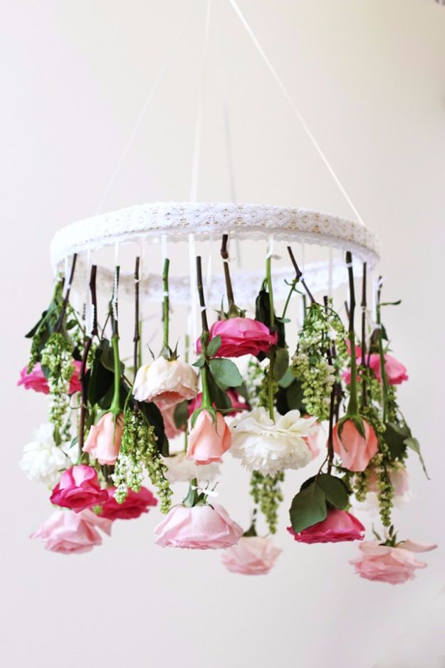 DIY Outdoors Wedding Ideas - DIY Flower Chandelier - Step by Step Tutorials and Projects Ideas for Summer Brides - Lighting, Mason Jar Centerpieces, Table Decor, Party Favors, Guestbook Ideas, Signs, Flowers, Banners, Tablecloth and Runners, Napkins, Seating and Lights - Cheap and Ideas DIY Decor for Weddings http://diyjoy.com/diy-outdoor-wedding