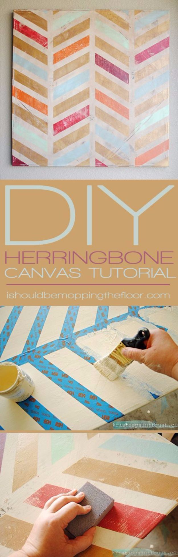 DIY Canvas Painting Ideas - DIY Herringbone Canvas Art - Cool and Easy Wall Art Ideas You Can Make On A Budget - Creative Arts and Crafts Ideas for Adults and Teens - Awesome Art for Living Room, Bedroom, Dorm and Apartment Decorating http://diyjoy.com/diy-canvas-painting