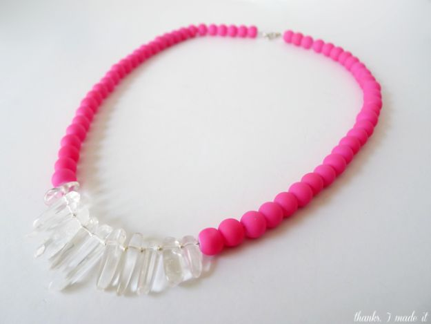 DIY Necklace Ideas - DIY Neon Quartz Necklace - Easy Handmade Necklaces with Step by Step Tutorials - Pendant, Beads, Statement, Choker, Layered Boho, Chain and Simple Looks - Creative Jewlery Making Ideas for Women and Teens, Girls - Crafts and Cool Fashion Ideas for Women, Teens and Teenagers http://diyjoy.com/diy-necklaces