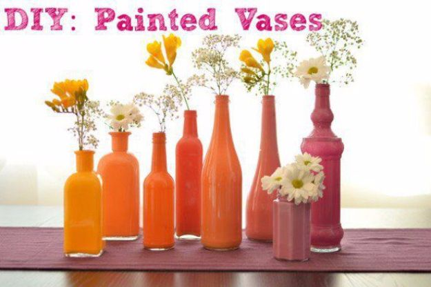 DIY Outdoors Wedding Ideas - DIY Painted Vases - Step by Step Tutorials and Projects Ideas for Summer Brides - Lighting, Mason Jar Centerpieces, Table Decor, Party Favors, Guestbook Ideas, Signs, Flowers, Banners, Tablecloth and Runners, Napkins, Seating and Lights - Cheap and Ideas DIY Decor for Weddings http://diyjoy.com/diy-outdoor-wedding