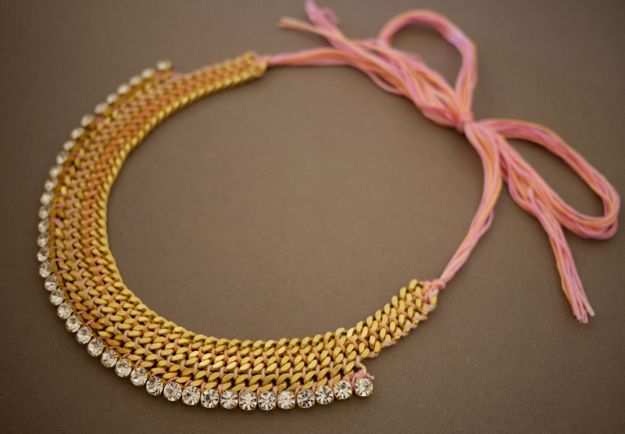 DIY Necklace Ideas - DIY Woven Chain Collar Necklace - Easy Handmade Necklaces with Step by Step Tutorials - Pendant, Beads, Statement, Choker, Layered Boho, Chain and Simple Looks - Creative Jewlery Making Ideas for Women and Teens, Girls - Crafts and Cool Fashion Ideas for Women, Teens and Teenagers http://diyjoy.com/diy-necklaces