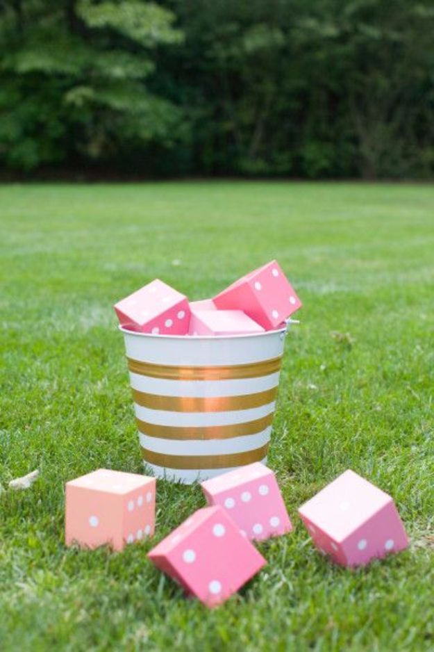 DIY Outdoors Wedding Ideas - DIY Yard Yahtzee Wedding Game - Step by Step Tutorials and Projects Ideas for Summer Brides - Lighting, Mason Jar Centerpieces, Table Decor, Party Favors, Guestbook Ideas, Signs, Flowers, Banners, Tablecloth and Runners, Napkins, Seating and Lights - Cheap and Ideas DIY Decor for Weddings http://diyjoy.com/diy-outdoor-wedding