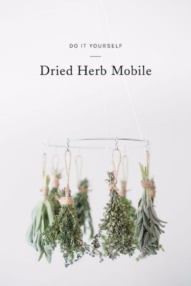DIY Ideas with Dried Herbs - Dried Herb Mobile - Creative Home Decor With Easy Step by Step Tutorials for Making Herb Crafts, Projects and Recipes - Cool DIY Gift Ideas and Cheap Homemade Gifts - DIY Projects and Crafts by DIY JOY http://diyjoy.com/diy-ideas-dried-herbs