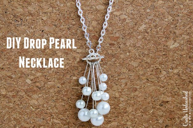 DIY Necklace Ideas - Drop DIY Pearl Necklace - Easy Handmade Necklaces with Step by Step Tutorials - Pendant, Beads, Statement, Choker, Layered Boho, Chain and Simple Looks - Creative Jewlery Making Ideas for Women and Teens, Girls - Crafts and Cool Fashion Ideas for Women, Teens and Teenagers http://diyjoy.com/diy-necklaces