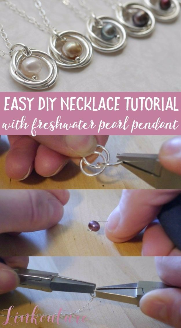 DIY Necklace Ideas - Easy DIY Necklace With Freshwater Pearl Pendant - Easy Handmade Necklaces with Step by Step Tutorials - Pendant, Beads, Statement, Choker, Layered Boho, Chain and Simple Looks - Creative Jewlery Making Ideas for Women and Teens, Girls - Crafts and Cool Fashion Ideas for Women, Teens and Teenagers http://diyjoy.com/diy-necklaces