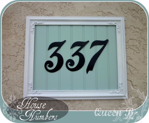 DIY House Numbers - Framed House Number - DIY Numbers To Put In Front Yard and At Front Door - Architectural Numbers and Creative Do It Yourself Projects for Making House Numbers - Easy Step by Step Tutorials and Project Ideas for Home Improvement on A Budget http://diyjoy.com/diy-house-numbers