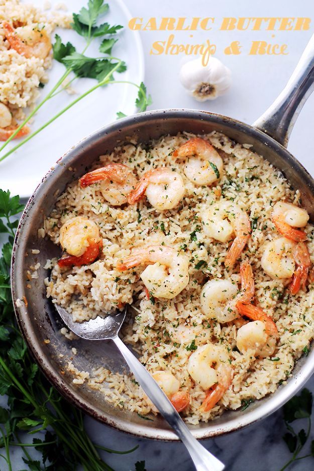 Best Rice Recipes - Garlic Butter Shrimp And Rice - Easy Ideas for Quick Meals Made From a Bag of Rice - Healthy Recipes With Brown, White and Arborio Rice - Cheesy, Fried, Asian, Mexican Flavored Dinner Dishes and Side Dishes - DIY Projects and Crafts by DIY JOY http://diyjoy.com/best-rice-recipes