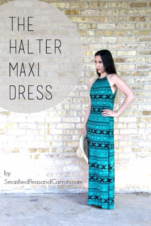DIY Dresses to Sew for Summer - Halter Maxi Dress - Best Free Patterns For Dress Ideas - Easy and Cheap Clothes to Make for Women and Teens - Step by Step Sewing Projects - Short, Summer, Winter, Fall, Inexpensive DIY Fashion http://diyjoy.com/sewing-dresses-patterns-summer