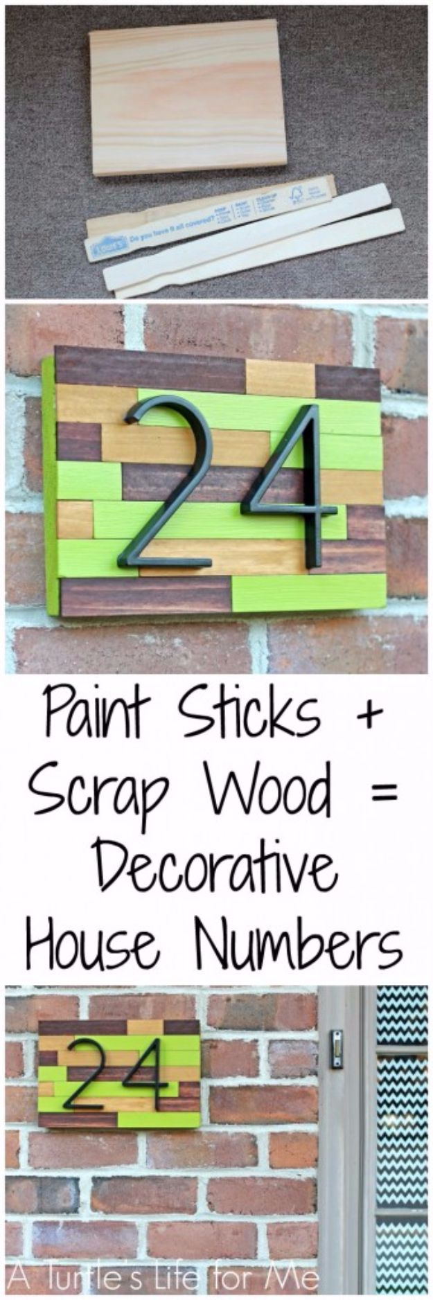 DIY House Numbers - House Number Plaque From Paint Sticks And Scrap Wood - DIY Numbers To Put In Front Yard and At Front Door - Architectural Numbers and Creative Do It Yourself Projects for Making House Numbers - Easy Step by Step Tutorials and Project Ideas for Home Improvement on A Budget http://diyjoy.com/diy-house-numbers