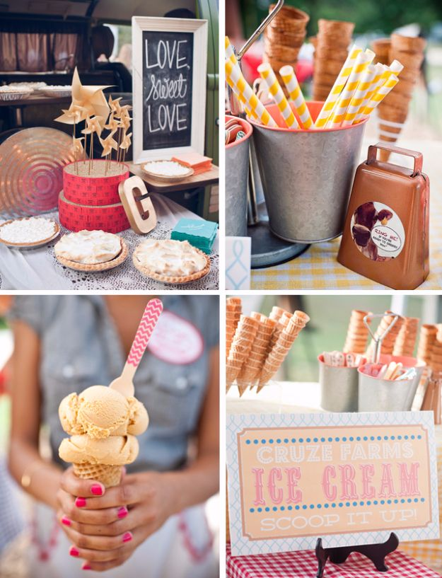 DIY Outdoors Wedding Ideas - Ice Cream Bar - Step by Step Tutorials and Projects Ideas for Summer Brides - Lighting, Mason Jar Centerpieces, Table Decor, Party Favors, Guestbook Ideas, Signs, Flowers, Banners, Tablecloth and Runners, Napkins, Seating and Lights - Cheap and Ideas DIY Decor for Weddings http://diyjoy.com/diy-outdoor-wedding