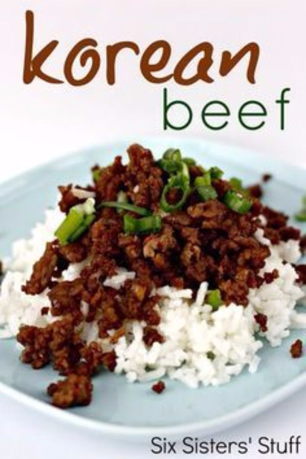 Best Rice Recipes - Korean Beef and Rice - Easy Ideas for Quick Meals Made From a Bag of Rice - Healthy Recipes With Brown, White and Arborio Rice - Cheesy, Fried, Asian, Mexican Flavored Dinner Dishes and Side Dishes - DIY Projects and Crafts by DIY JOY http://diyjoy.com/best-rice-recipes
