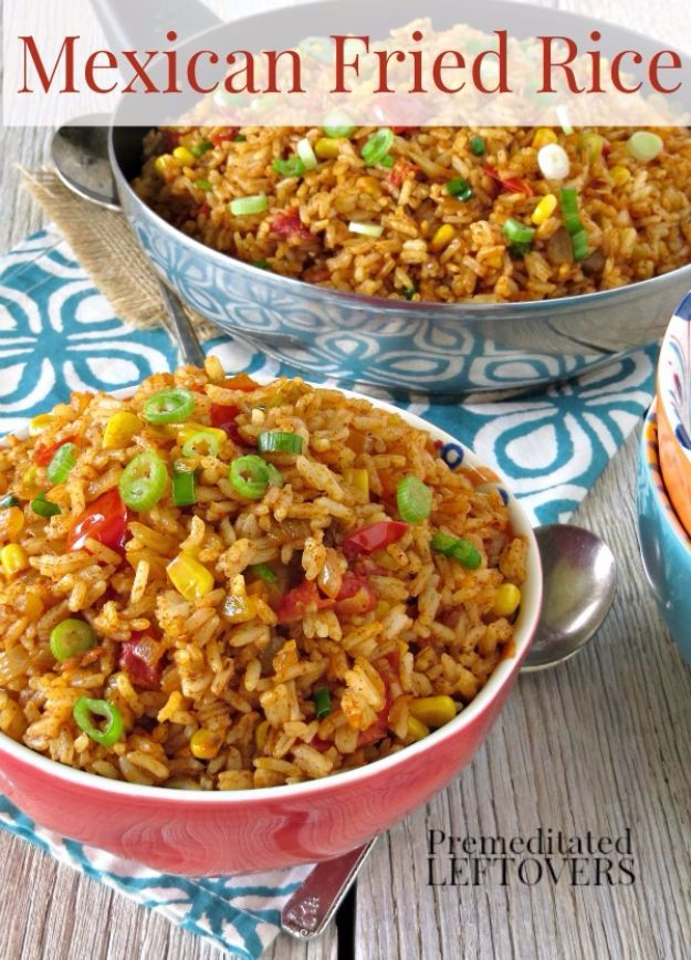Best Rice Recipes - Mexican Fried Rice - Easy Ideas for Quick Meals Made From a Bag of Rice - Healthy Recipes With Brown, White and Arborio Rice - Cheesy, Fried, Asian, Mexican Flavored Dinner Dishes and Side Dishes - DIY Projects and Crafts by DIY JOY http://diyjoy.com/best-rice-recipes