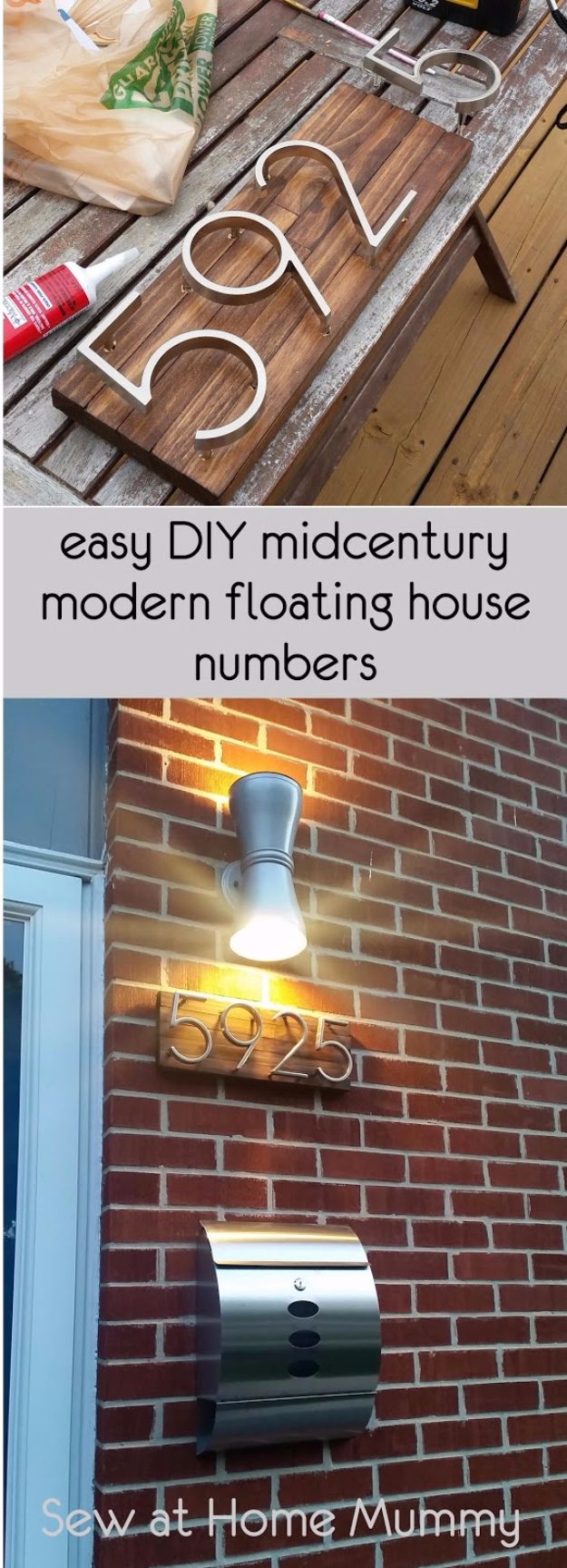 DIY House Numbers - Mid Century Modern Floating House Numbers - DIY Numbers To Put In Front Yard and At Front Door - Architectural Numbers and Creative Do It Yourself Projects for Making House Numbers - Easy Step by Step Tutorials and Project Ideas for Home Improvement on A Budget http://diyjoy.com/diy-house-numbers