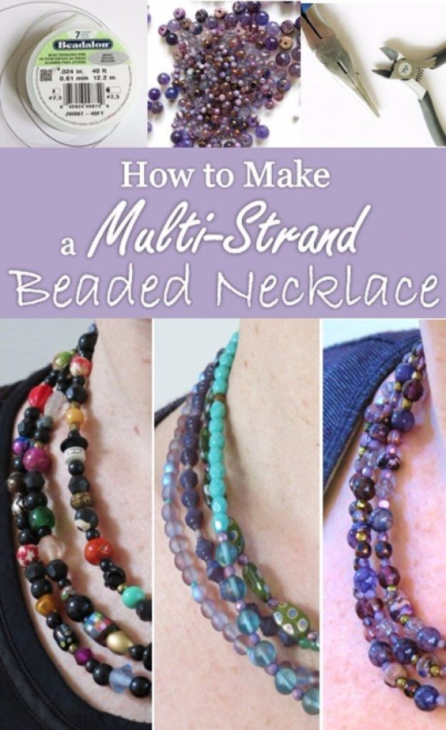 DIY Necklace Ideas - Multi Strand Beaded Necklace - Easy Handmade Necklaces with Step by Step Tutorials - Pendant, Beads, Statement, Choker, Layered Boho, Chain and Simple Looks - Creative Jewlery Making Ideas for Women and Teens, Girls - Crafts and Cool Fashion Ideas for Women, Teens and Teenagers http://diyjoy.com/diy-necklaces