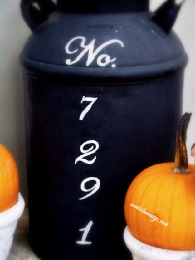 DIY House Numbers - Old Milk Can Turned Address Marker - DIY Numbers To Put In Front Yard and At Front Door - Architectural Numbers and Creative Do It Yourself Projects for Making House Numbers - Easy Step by Step Tutorials and Project Ideas for Home Improvement on A Budget http://diyjoy.com/diy-house-numbers