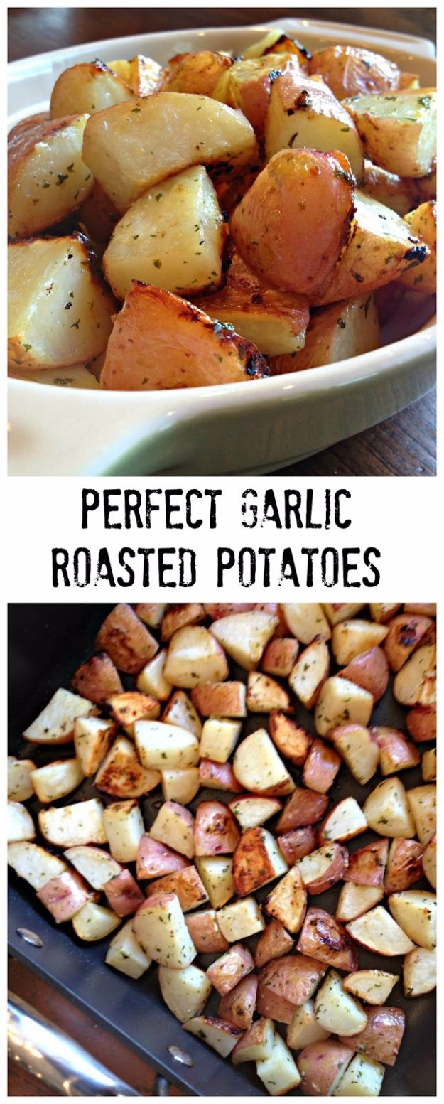 Best Easter Dinner Recipes - Perfect Garlic Roasted Potatoes - Easy Recipe Ideas for Easter Dinners and Holiday Meals for Families - Side Dishes, Slow Cooker Recipe Tutorials, Main Courses, Traditional Meat, Vegetable and Dessert Ideas - Desserts, Pies, Cakes, Ham and Beef, Lamb - DIY Projects and Crafts by DIY JOY http://diyjoy.com/easter-dinner-recipes