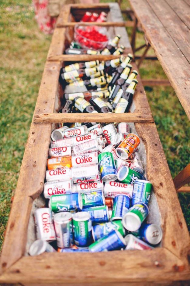 DIY Outdoors Wedding Ideas - Planter Box As A Cooler For Your Drinks - Step by Step Tutorials and Projects Ideas for Summer Brides - Lighting, Mason Jar Centerpieces, Table Decor, Party Favors, Guestbook Ideas, Signs, Flowers, Banners, Tablecloth and Runners, Napkins, Seating and Lights - Cheap and Ideas DIY Decor for Weddings http://diyjoy.com/diy-outdoor-wedding
