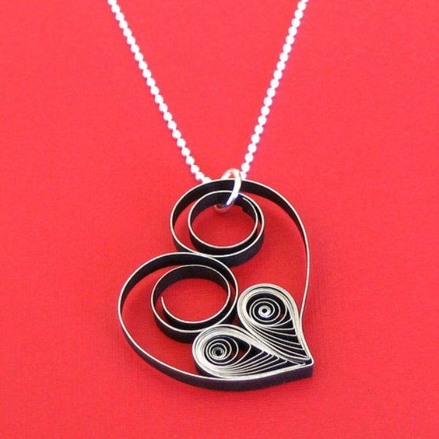 DIY Necklace Ideas - Quilled Heart Necklace - Easy Handmade Necklaces with Step by Step Tutorials - Pendant, Beads, Statement, Choker, Layered Boho, Chain and Simple Looks - Creative Jewlery Making Ideas for Women and Teens, Girls - Crafts and Cool Fashion Ideas for Women, Teens and Teenagers http://diyjoy.com/diy-necklaces