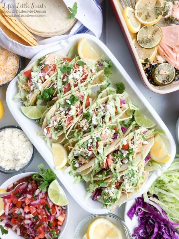 Best Easter Dinner Recipes - Salmon Tacos With Fresh Salsa And Avocado Sauce - Easy Recipe Ideas for Easter Dinners and Holiday Meals for Families - Side Dishes, Slow Cooker Recipe Tutorials, Main Courses, Traditional Meat, Vegetable and Dessert Ideas - Desserts, Pies, Cakes, Ham and Beef, Lamb - DIY Projects and Crafts by DIY JOY http://diyjoy.com/easter-dinner-recipes