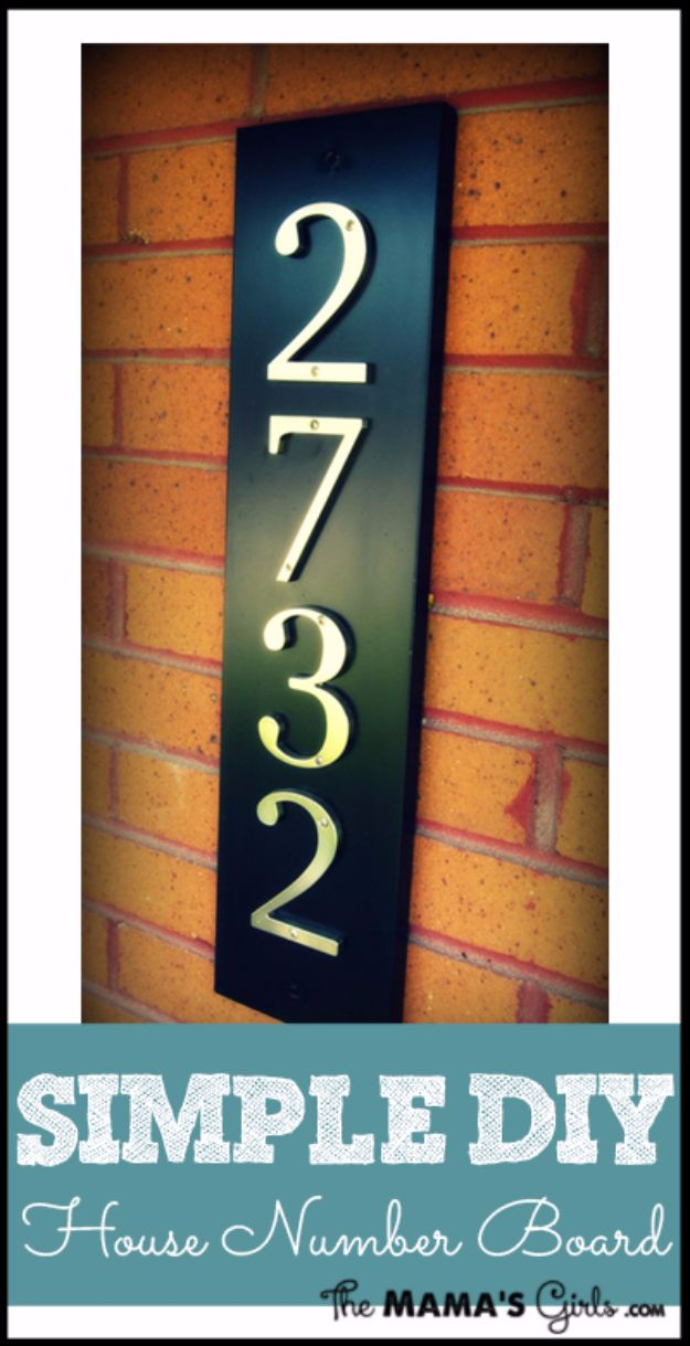 DIY House Numbers - Simple DIY House Number Board - DIY Numbers To Put In Front Yard and At Front Door - Architectural Numbers and Creative Do It Yourself Projects for Making House Numbers - Easy Step by Step Tutorials and Project Ideas for Home Improvement on A Budget http://diyjoy.com/diy-house-numbers