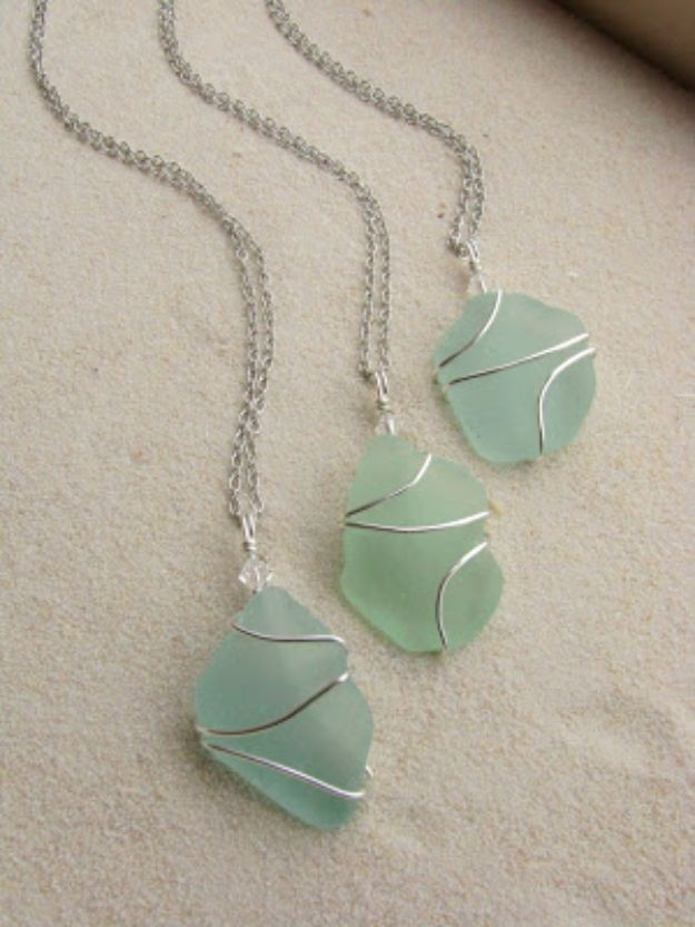 DIY Necklace Ideas - Wire Wrapped Sea Glass Necklace - Easy Handmade Necklaces with Step by Step Tutorials - Pendant, Beads, Statement, Choker, Layered Boho, Chain and Simple Looks - Creative Jewlery Making Ideas for Women and Teens, Girls - Crafts and Cool Fashion Ideas for Women, Teens and Teenagers http://diyjoy.com/diy-necklaces