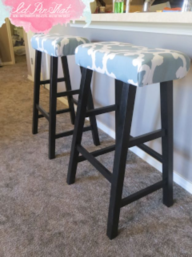 DIY Barstools - Bar Stool Face Lift - Easy and Cheap Ideas for Seating and Creative Home Decor - Do It Yourself Bar Stools for Modern, Rustic, Farmhouse, Shabby Chic, Industrial and Simple Classic Decor - Do It Yourself Dining Room Seating Complete With Step by Step Tutorials http://diyjoy.com/diy-barstools