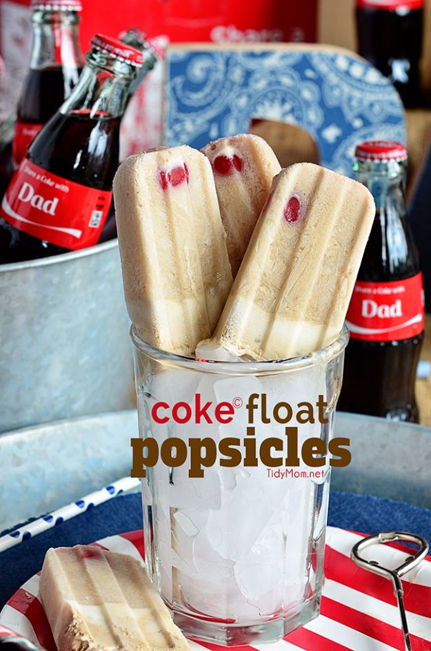 Best Coca Cola Recipes - Coke Float Popsicles - Make Awesome Coke Chicken, Coca Cola Cake, Meatballs, Sodas, Drinks, Sweets, Dinners, Meat, Slow Cooker and Recipe Ideas With Cake Mixes - Fun Food Projects For Families and Parties With Step By Step Tutorials http://diyjoy.com/coca-cola-recipes