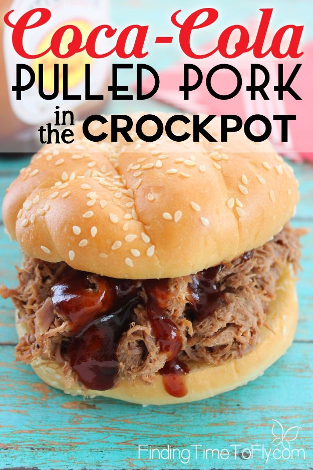 Best Coca Cola Recipes - Crockpot Coca-Cola Pulled Pork - Make Awesome Coke Chicken, Coca Cola Cake, Meatballs, Sodas, Drinks, Sweets, Dinners, Meat, Slow Cooker and Recipe Ideas With Cake Mixes - Fun Food Projects For Families and Parties With Step By Step Tutorials http://diyjoy.com/coca-cola-recipes