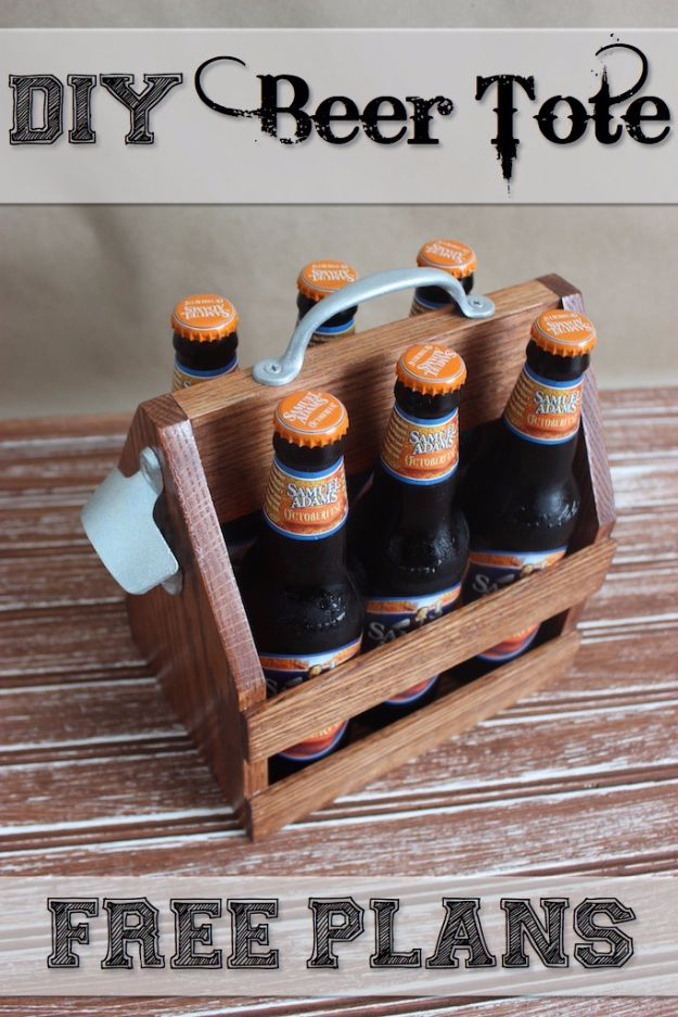 DIY Mancave Decor Ideas - DIY Beer Tote - Step by Step Tutorials and Do It Yourself Projects for Your Man Cave - Easy DIY Furniture, Wall Art, Sinks, Coolers, Storage, Shelves, Games, Seating and Home Decor for Your Garage Room - Fun DIY Projects and Crafts for Men http://diyjoy.com/diy-mancave-ideas