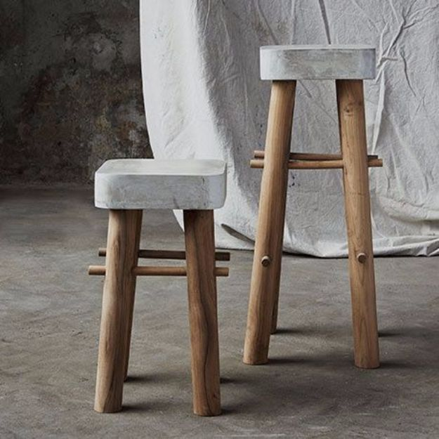 DIY Barstools - DIY Concrete Bar Stools - Easy and Cheap Ideas for Seating and Creative Home Decor - Do It Yourself Bar Stools for Modern, Rustic, Farmhouse, Shabby Chic, Industrial and Simple Classic Decor - Do It Yourself Dining Room Seating Complete With Step by Step Tutorials http://diyjoy.com/diy-barstools