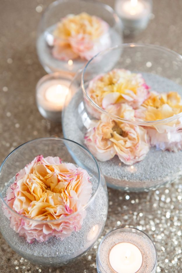 DIY Wedding Centerpieces - DIY Flower And Sand Centerpiece - Do It Yourself Ideas for Brides and Best Centerpiece Ideas for Weddings - Step by Step Tutorials for Making Mason Jars, Rustic Crafts, Flowers, Modern Decor, Vintage and Cheap Ideas for Couples on A Budget Outdoor and Indoor Weddings http://diyjoy.com/diy-wedding-centerpieces
