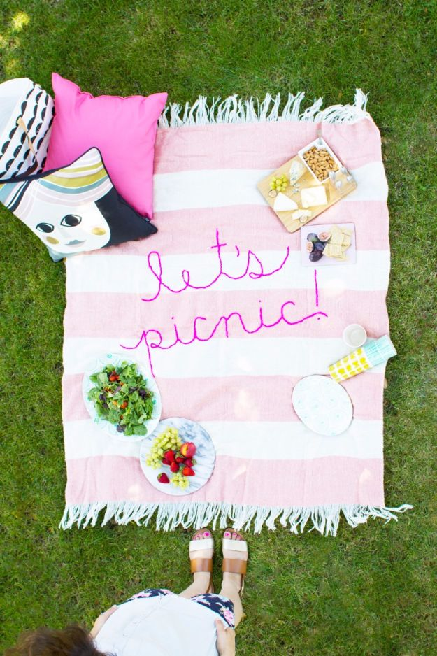 Free Embroidery Patterns - DIY Giant Embroidery Picnic Blanket - Best Embroidery Projects and Step by Step DIY Tutorials for Making Home Decor, Wall Art, Pillows and Creative Handmade Sewing Gifts - Machine Ideas and Hand Sewn Ideas for Beginners - Quotes, Modern Art, Flowers, Christmas Decor, Kitchen Towels and Easy Applique Designs http://diyjoy.com/free-embroidery-patterns