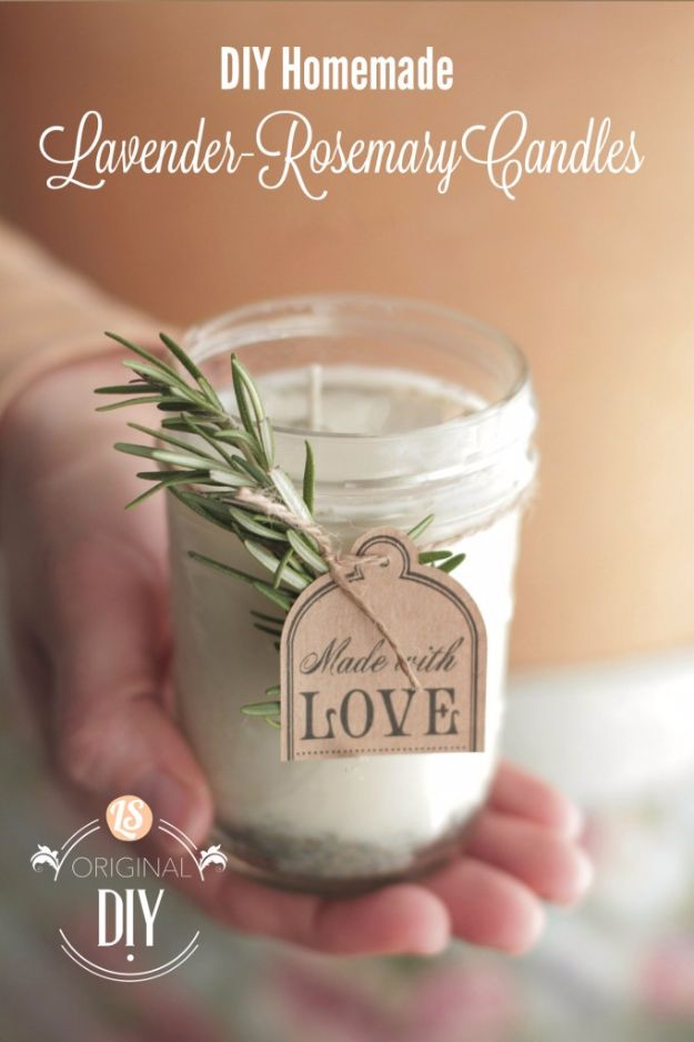 DIY Wedding Favors - DIY Homemade Lavender Rosemary Candles - Do It Yourself Ideas for Brides and Best Wedding Favor Ideas for Weddings - Step by Step Tutorials for Making Mason Jars, Rustic Crafts, Flowers, Small Gifts, Modern Decor, Vintage and Cheap Ideas for Couples on A Budget Outdoor and Indoor Weddings http://diyjoy.com/diy-wedding-favors