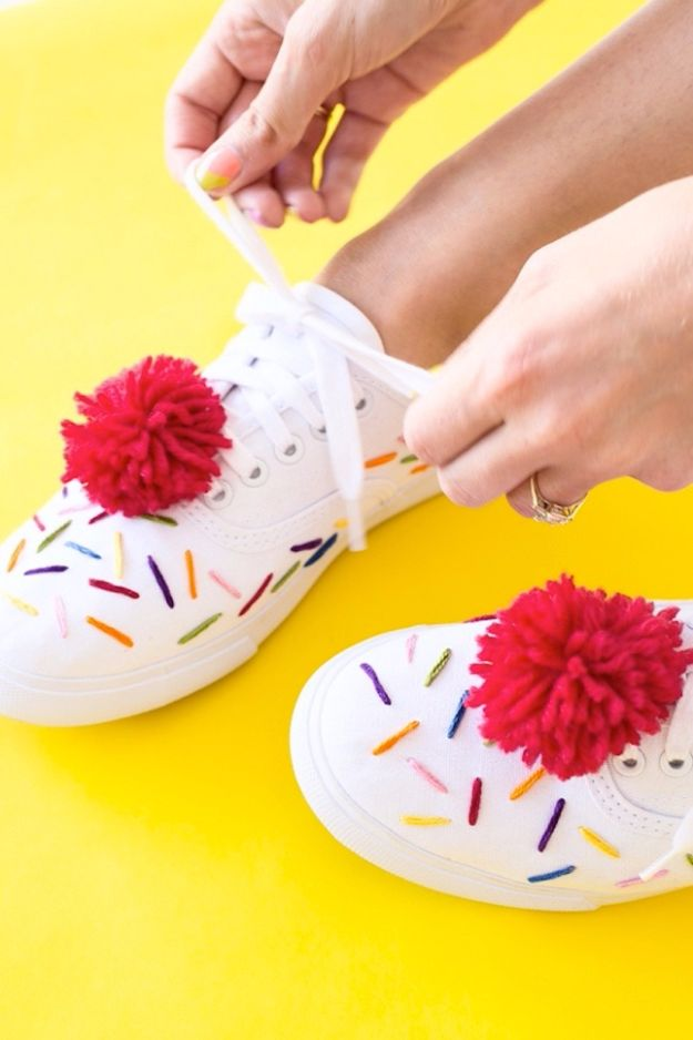 Free Embroidery Patterns - DIY Ice Cream Sneakers - Best Embroidery Projects and Step by Step DIY Tutorials for Making Home Decor, Wall Art, Pillows and Creative Handmade Sewing Gifts - Machine Ideas and Hand Sewn Ideas for Beginners - Quotes, Modern Art, Flowers, Christmas Decor, Kitchen Towels and Easy Applique Designs http://diyjoy.com/free-embroidery-patterns