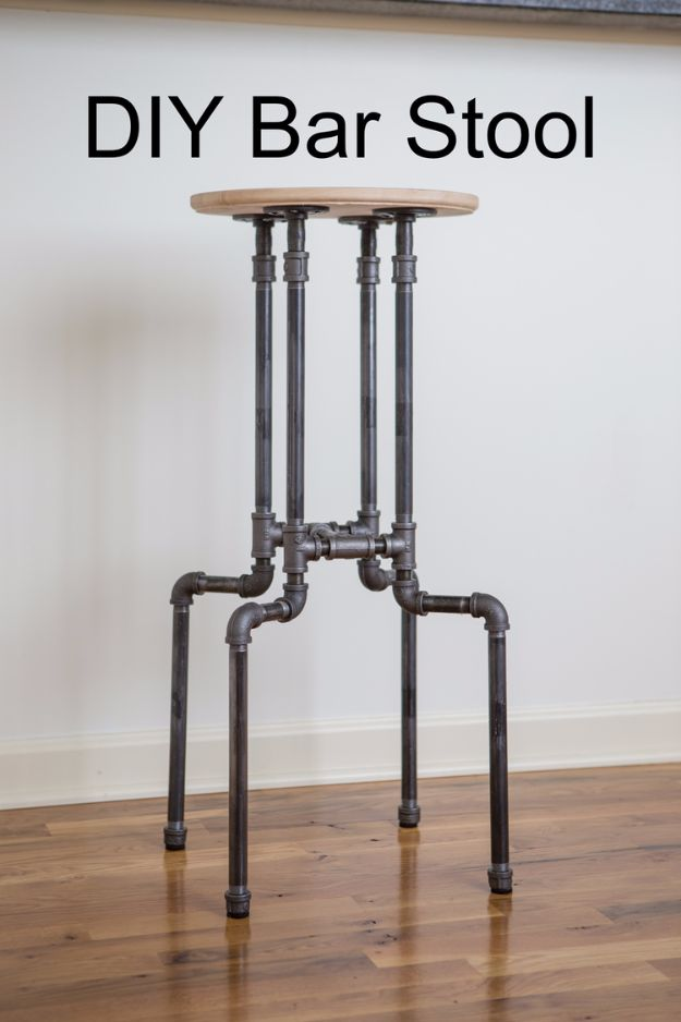 DIY Barstools - DIY Industrial Bar Stool - Easy and Cheap Ideas for Seating and Creative Home Decor - Do It Yourself Bar Stools for Modern, Rustic, Farmhouse, Shabby Chic, Industrial and Simple Classic Decor - Do It Yourself Dining Room Seating Complete With Step by Step Tutorials http://diyjoy.com/diy-barstools