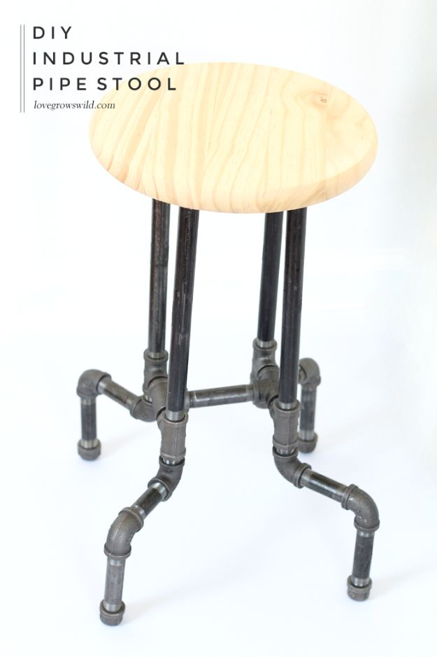 DIY Barstools - DIY Industrial Pipe Stools - Easy and Cheap Ideas for Seating and Creative Home Decor - Do It Yourself Bar Stools for Modern, Rustic, Farmhouse, Shabby Chic, Industrial and Simple Classic Decor - Do It Yourself Dining Room Seating Complete With Step by Step Tutorials http://diyjoy.com/diy-barstools