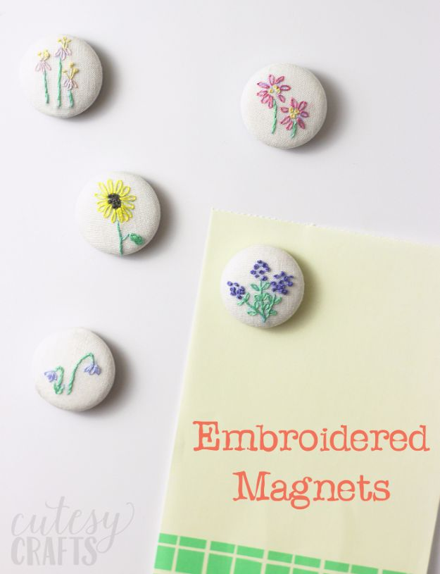 Free Embroidery Patterns - DIY Magnets With Hand Embroidery - Best Embroidery Projects and Step by Step DIY Tutorials for Making Home Decor, Wall Art, Pillows and Creative Handmade Sewing Gifts - Machine Ideas and Hand Sewn Ideas for Beginners - Quotes, Modern Art, Flowers, Christmas Decor, Kitchen Towels and Easy Applique Designs http://diyjoy.com/free-embroidery-patterns
