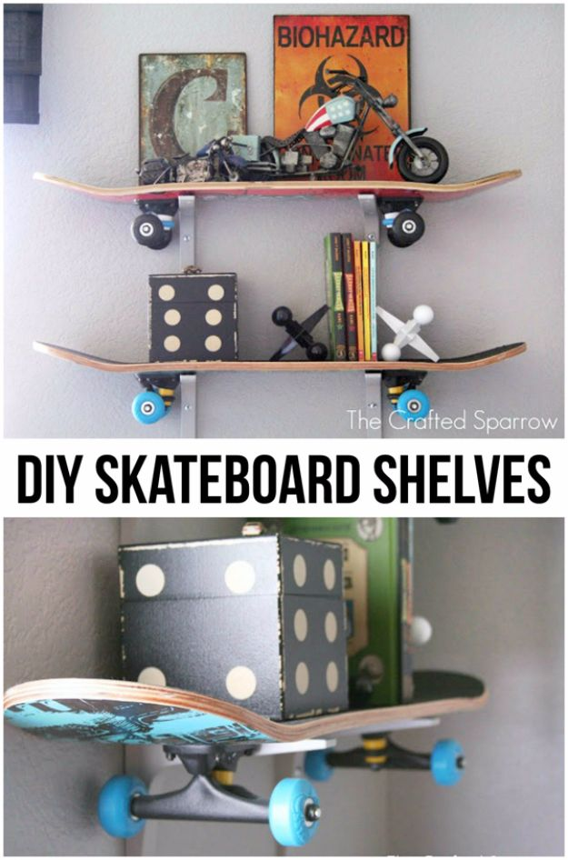 DIY Mancave Decor Ideas - DIY Skateboard Shelves - Step by Step Tutorials and Do It Yourself Projects for Your Man Cave - Easy DIY Furniture, Wall Art, Sinks, Coolers, Storage, Shelves, Games, Seating and Home Decor for Your Garage Room - Fun DIY Projects and Crafts for Men http://diyjoy.com/diy-mancave-ideas