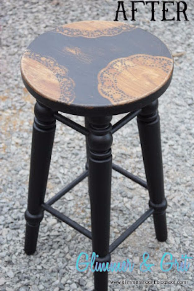 DIY Barstools - Dollar Store Doily Stenciled Stool - Easy and Cheap Ideas for Seating and Creative Home Decor - Do It Yourself Bar Stools for Modern, Rustic, Farmhouse, Shabby Chic, Industrial and Simple Classic Decor - Do It Yourself Dining Room Seating Complete With Step by Step Tutorials http://diyjoy.com/diy-barstools