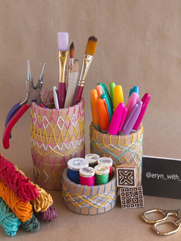 Free Embroidery Patterns - Embroidered Pencil Holder DIY - Best Embroidery Projects and Step by Step DIY Tutorials for Making Home Decor, Wall Art, Pillows and Creative Handmade Sewing Gifts - Machine Ideas and Hand Sewn Ideas for Beginners - Quotes, Modern Art, Flowers, Christmas Decor, Kitchen Towels and Easy Applique Designs http://diyjoy.com/free-embroidery-patterns