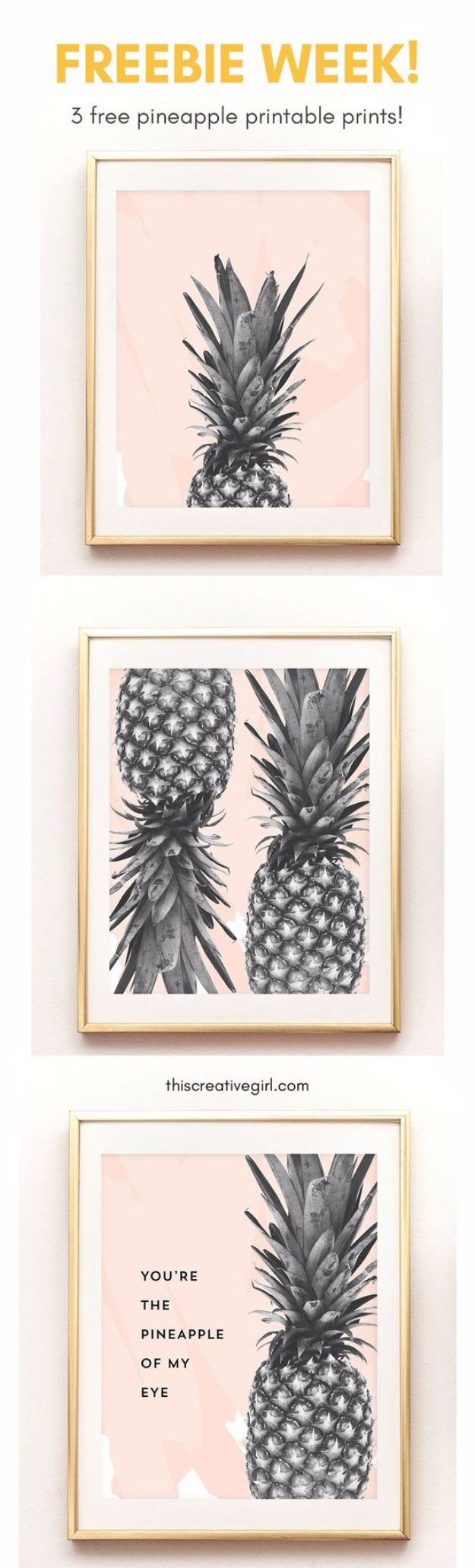 Free Printables For Your Walls - Free Pineapple Printable Art - Best Free Prints for Wall Art and Picture to Print for Home and Bedroom Decor - Ideas for the Home, Organization - Quotes for Bedroom and Kitchens, Vintage Bathroom Pictures - Downloadable Printable for Kids - DIY and Crafts by DIY JOY http://diyjoy.com/free-printables-walls