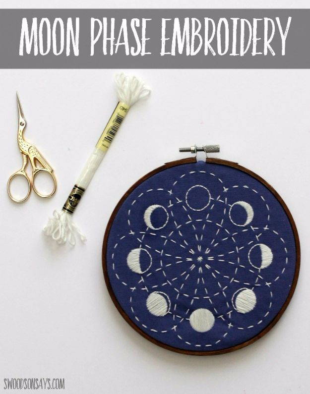 Free Embroidery Patterns - Glow In The Dark Lunar Moon Phases Embroidery - Best Embroidery Projects and Step by Step DIY Tutorials for Making Home Decor, Wall Art, Pillows and Creative Handmade Sewing Gifts - Machine Ideas and Hand Sewn Ideas for Beginners - Quotes, Modern Art, Flowers, Christmas Decor, Kitchen Towels and Easy Applique Designs http://diyjoy.com/free-embroidery-patterns
