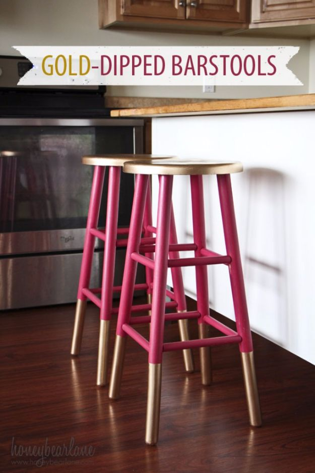 DIY Barstools - Gold Dipped Bar Stools - Easy and Cheap Ideas for Seating and Creative Home Decor - Do It Yourself Bar Stools for Modern, Rustic, Farmhouse, Shabby Chic, Industrial and Simple Classic Decor - Do It Yourself Dining Room Seating Complete With Step by Step Tutorials http://diyjoy.com/diy-barstools
