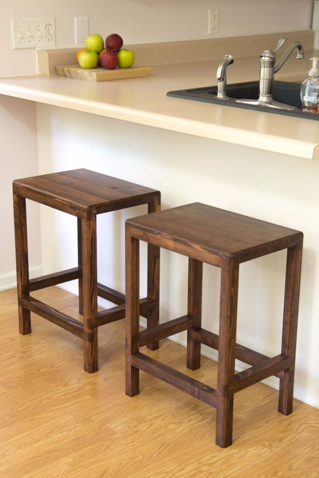 DIY Barstools - Half Lap Bar Stools - Easy and Cheap Ideas for Seating and Creative Home Decor - Do It Yourself Bar Stools for Modern, Rustic, Farmhouse, Shabby Chic, Industrial and Simple Classic Decor - Do It Yourself Dining Room Seating Complete With Step by Step Tutorials http://diyjoy.com/diy-barstools