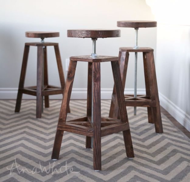 DIY Barstools - Industrial Adjustable Height Bolt Bar Stool - Easy and Cheap Ideas for Seating and Creative Home Decor - Do It Yourself Bar Stools for Modern, Rustic, Farmhouse, Shabby Chic, Industrial and Simple Classic Decor - Do It Yourself Dining Room Seating Complete With Step by Step Tutorials http://diyjoy.com/diy-barstools
